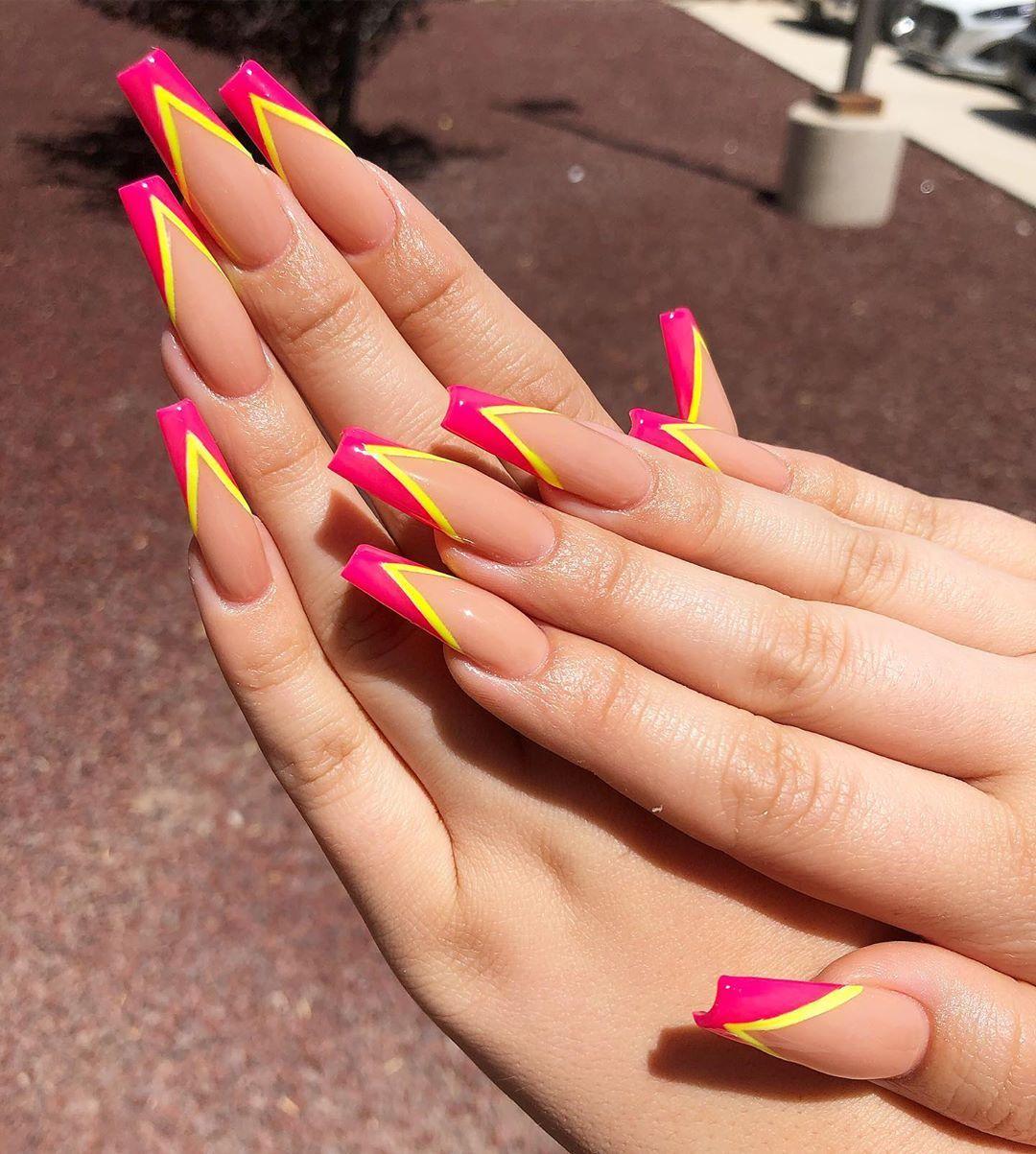 Nailsbykazmiraemery On Instagram Are We Tired Of V Tips Yet Kazmiraemery Elpasonails French Tip Nail Designs French Tip Nails Nail Tips