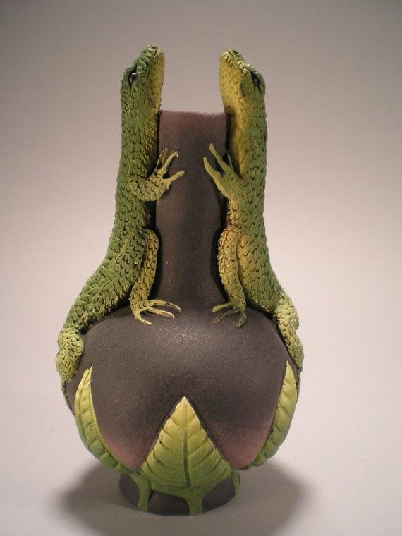 Two lizard vase by Nancy Yturriaga Adams
