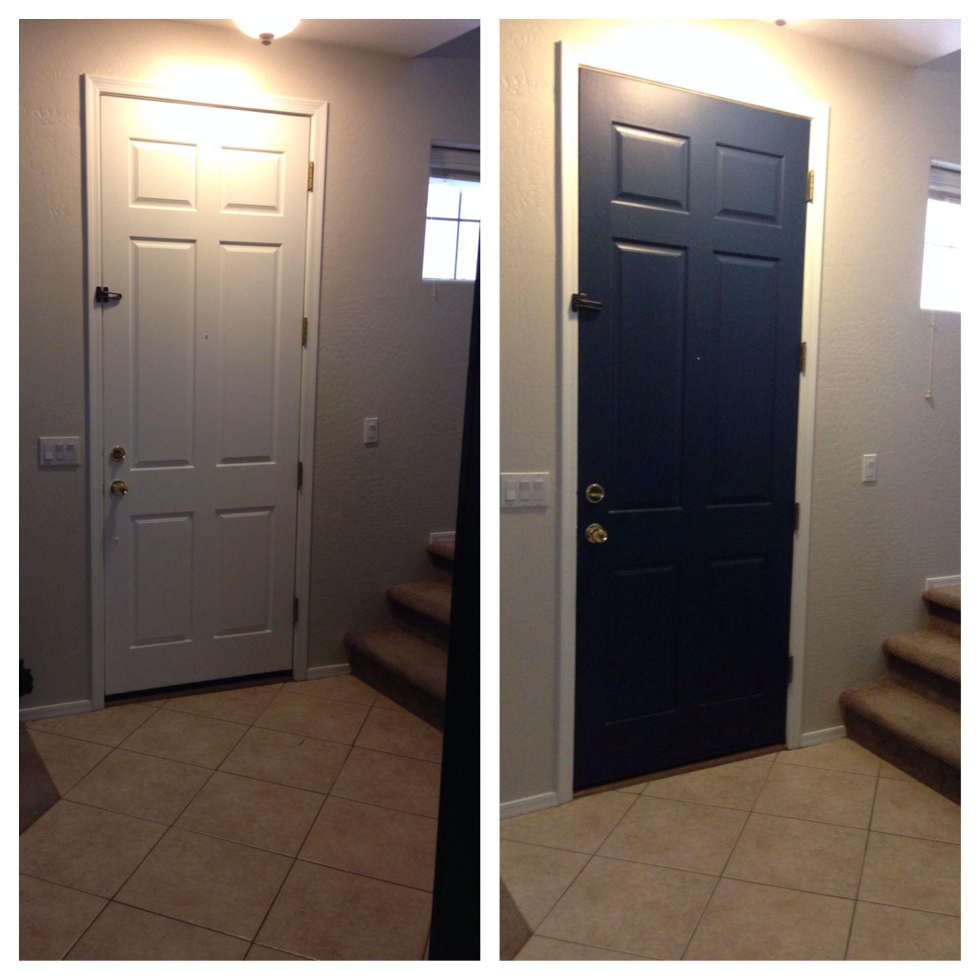 white interior door now a fabulous blue benjamin moore. Black Bedroom Furniture Sets. Home Design Ideas