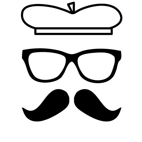 bigote boina y gafas