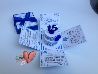 Invitación Quince Años Modelo Caja Explosiva Color Azul