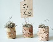 Rustic Wedding Table Numbers Birch Bark Hearts