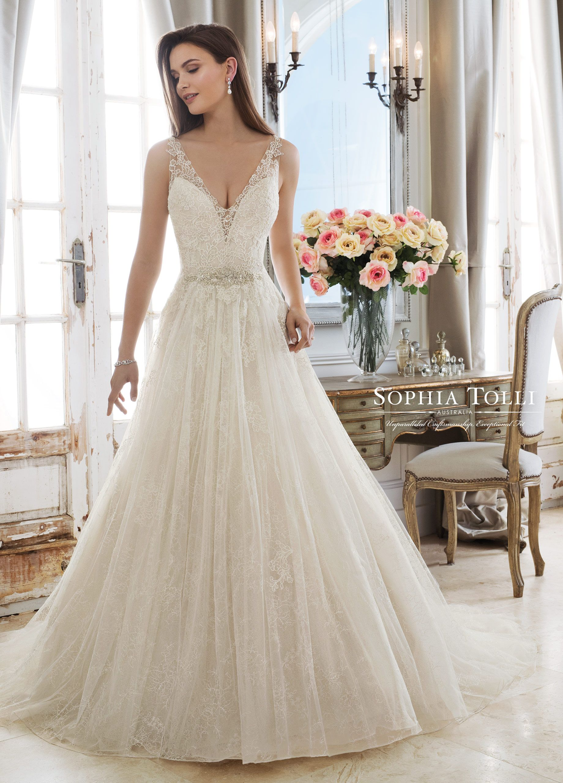 593ff06e DEMETER wedding dress by Sophia Tolli. How's this for romantic glamour?  This sleeveless A