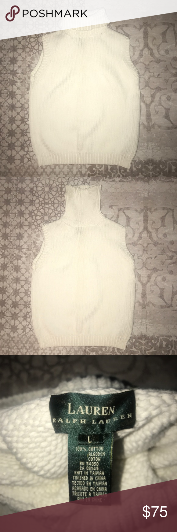 Ralph Lauren White Sleeveless Turtleneck Ralph has done it again! This Turtleneck is timeless and can be worn all year around. Brand New  - never been worn. Hand knit and made of 100% cotton! You won't find this at a b tree price! Lauren Ralph Lauren Sweaters Cowl & Turtlenecks