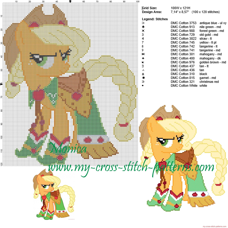 Applejack (My Little Pony) patrón punto de cruz | little pony ...