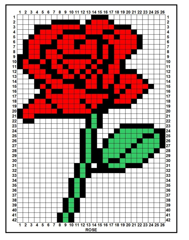 Perle Ou Elastique Croquis Fleurs Pixel Art Punto Bordado Et