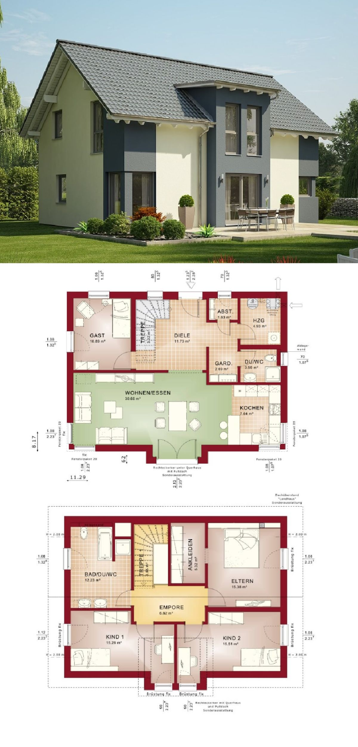 Einfamilienhaus architektur mit satteldach und erker anbau for Haus anbau modern