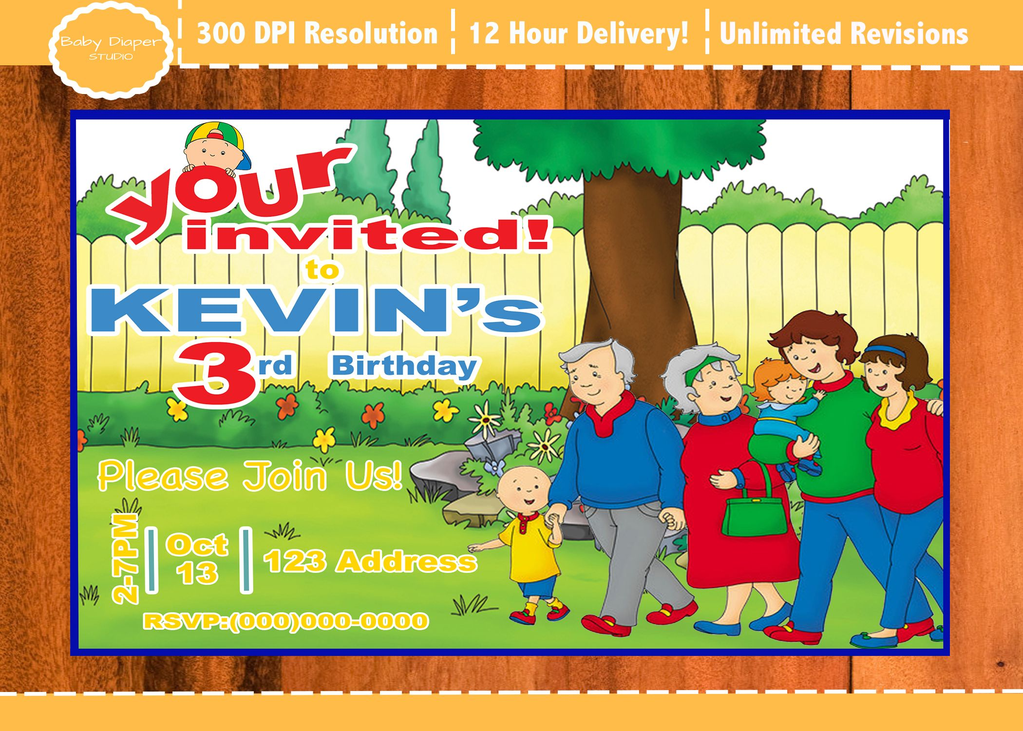 Caillou Birthday Invitation PBS Kids Party Invite
