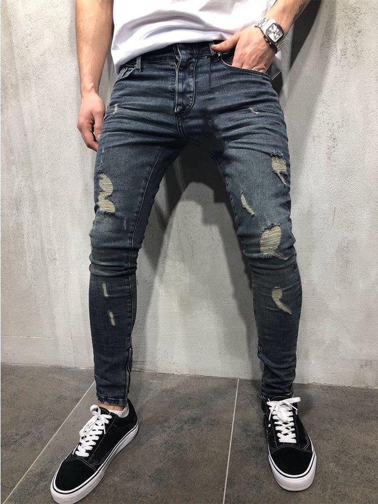 7c0fc879e1e KENNTRICE Men Jeans New Slim Fit Knee Holes Hip Hop Skinny Jeans Distressed  Ripped Stretch Streetwear Male Denim Trousers #mensjeansskinny