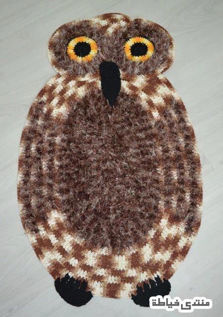 باترون سجادة كروشيه سجادة على شكل بومة باترون سجادة على شكل طائر Owl Rug Crochet Crochet Rug
