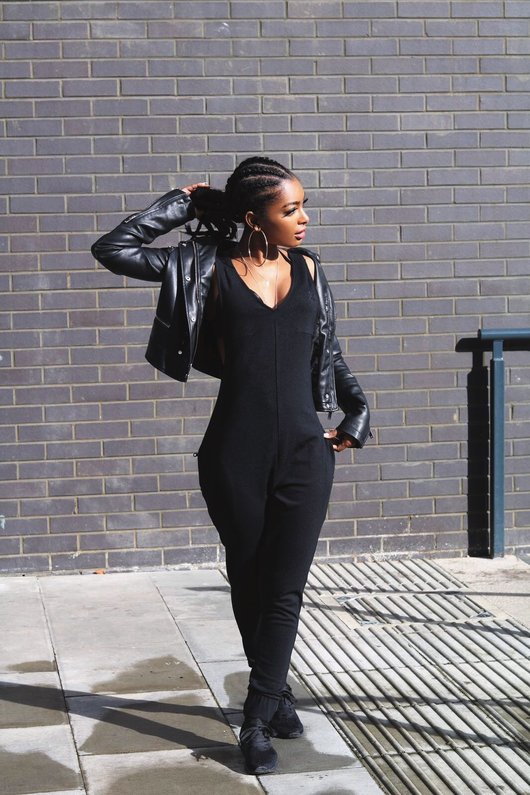 651ee5b6bf9 Bay Jumpsuit + Leather jacket  perfect match !