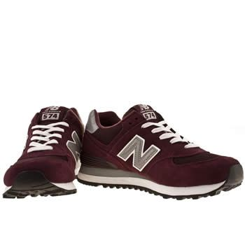 Womens Burgundy New Balance 574 Suede & Mesh Trainers | Kid ...
