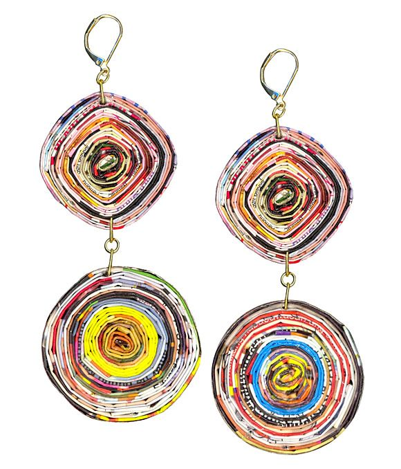 Roberta Chiarella paper pinwheel earrings, crafted from recycled magazines and catalogs. $38 robertachiarella.com
