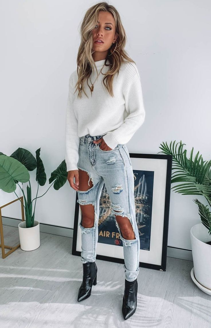 Photo of Zane Ripped Jeans Blue in 2020 | Fashion inspo outfits, Fash