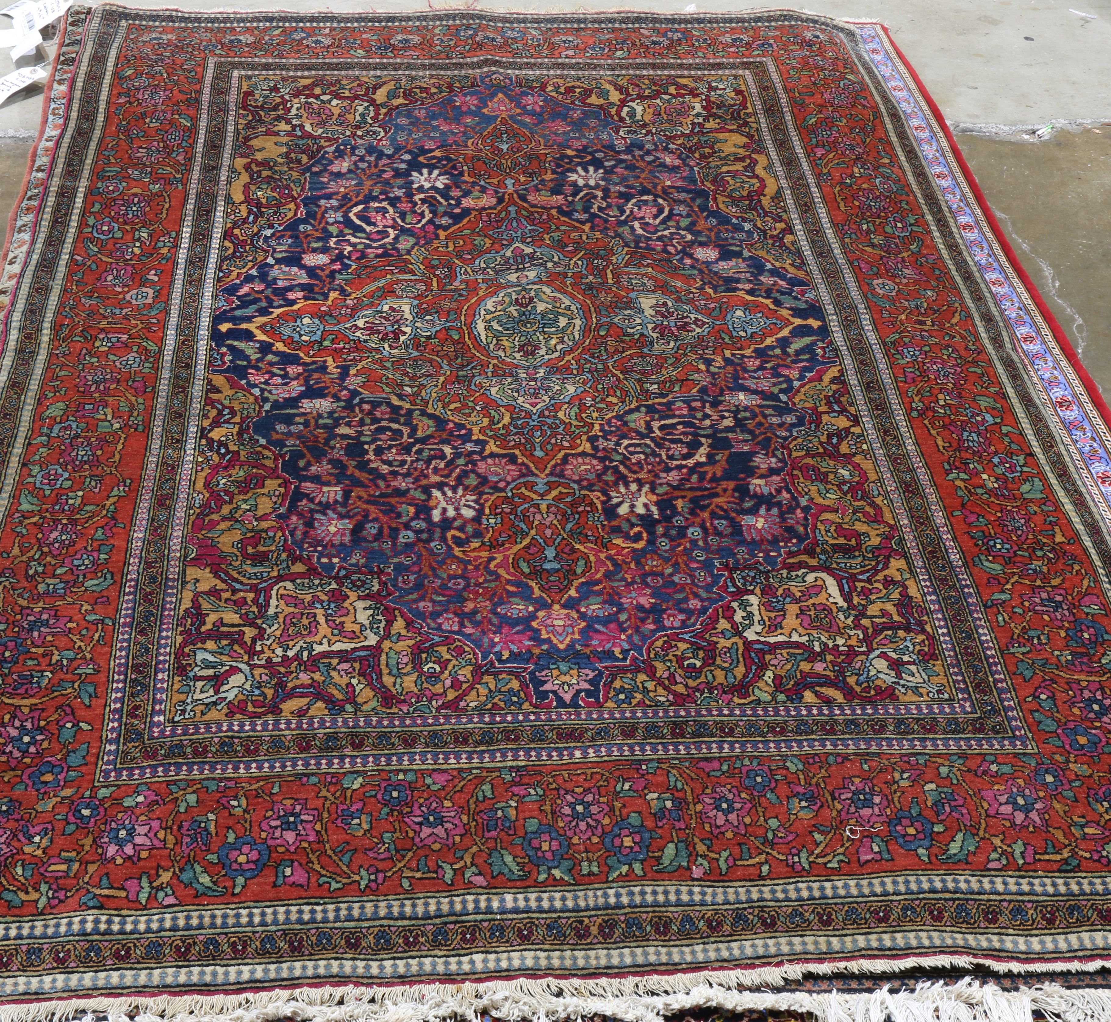 ANTIQUE MOBARAKEH ISFAHAN RUG 8' X 5'