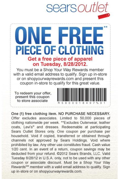 Any Piece Of Clothing Free Today At Sears Outlet No Purchase Necessary Coupon Via The Coupons App Coupon Apps Printable Coupons Coupons