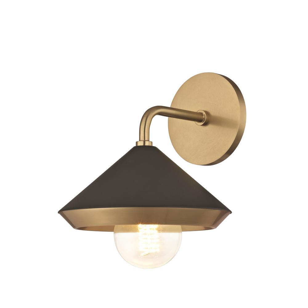 Mitzi Hudson Valley Lighting Marnie 1 Light Aged Brass Wall Sconce With Black Shade H139101 Agb Bk The Home Depot Brass Wall Light Modern Sconces Wall Sconces