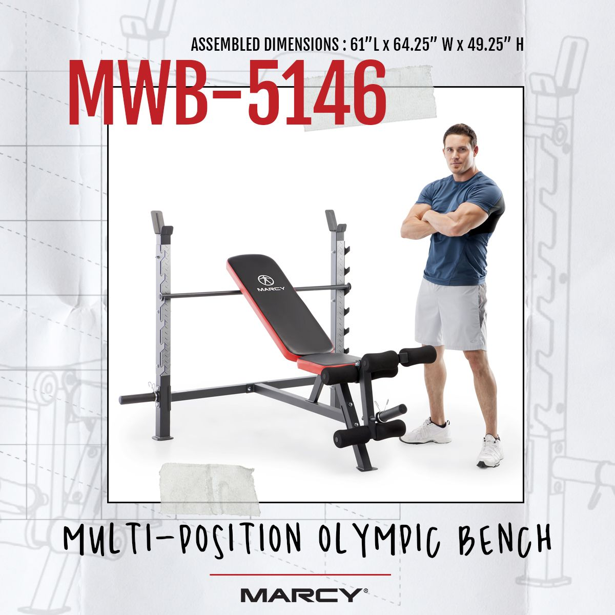 Marcy Multi Position Olympic Bench Mwb 5146 In 2020 Full Body Workout Leg Curl Strength Conditioning