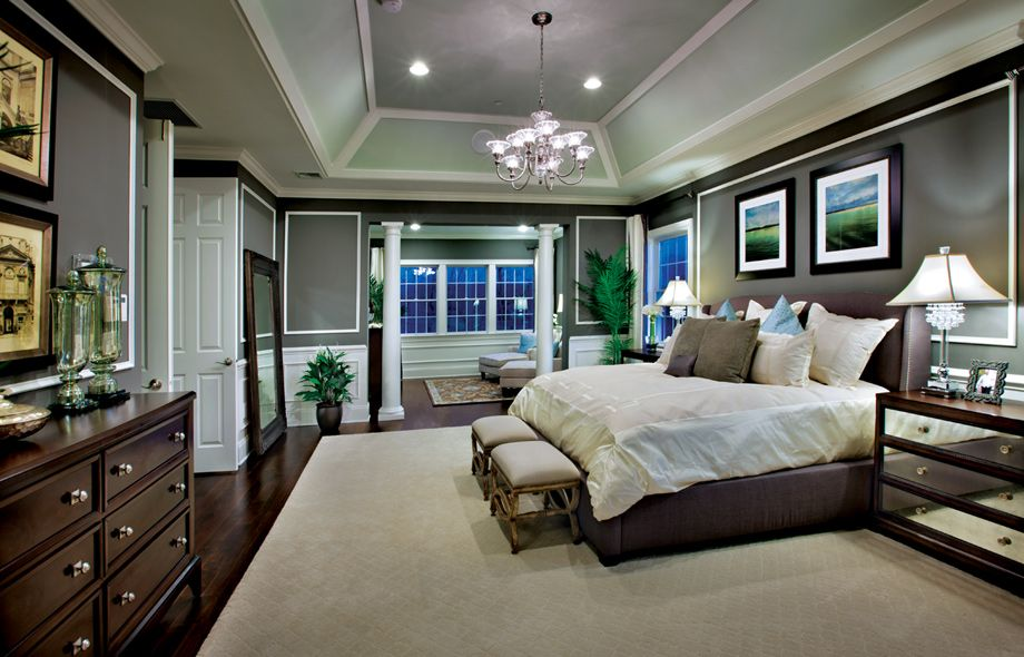 Master Bedroom With Cofferred Ceiling And Private Sitting Area