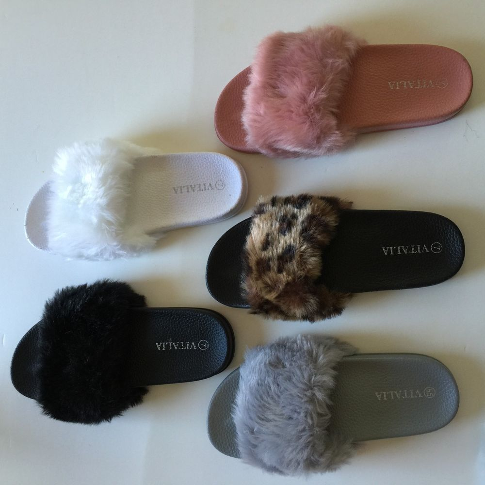 d53f9322bf25 Ladies Womens Flats Fur Slip On Comfy Flip Flop Slider Slippers Rubber  Sandals  VITALIA  Slippers