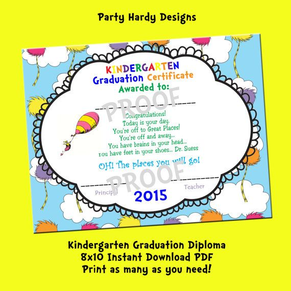 Oh the places you will go Printable Kindergarten Graduation Diploma - copy pre kindergarten certificate printable