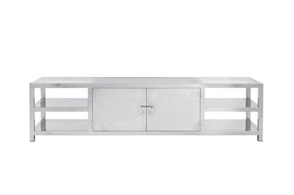 Polished Stainless Steel Entertainment Console, Bed Down Furniture Atlanta
