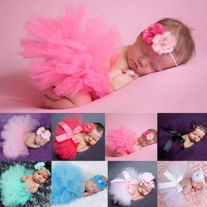 Newborn baby girl tutu and matching headband gift set