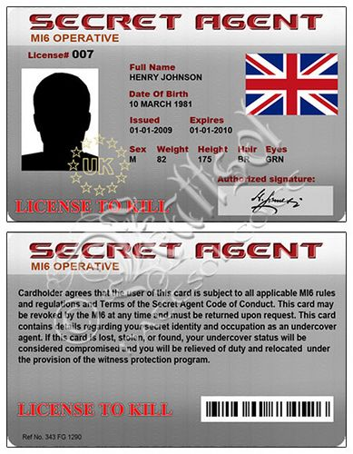 Secret agent card fake id spy party spy gear and for Spy id card template