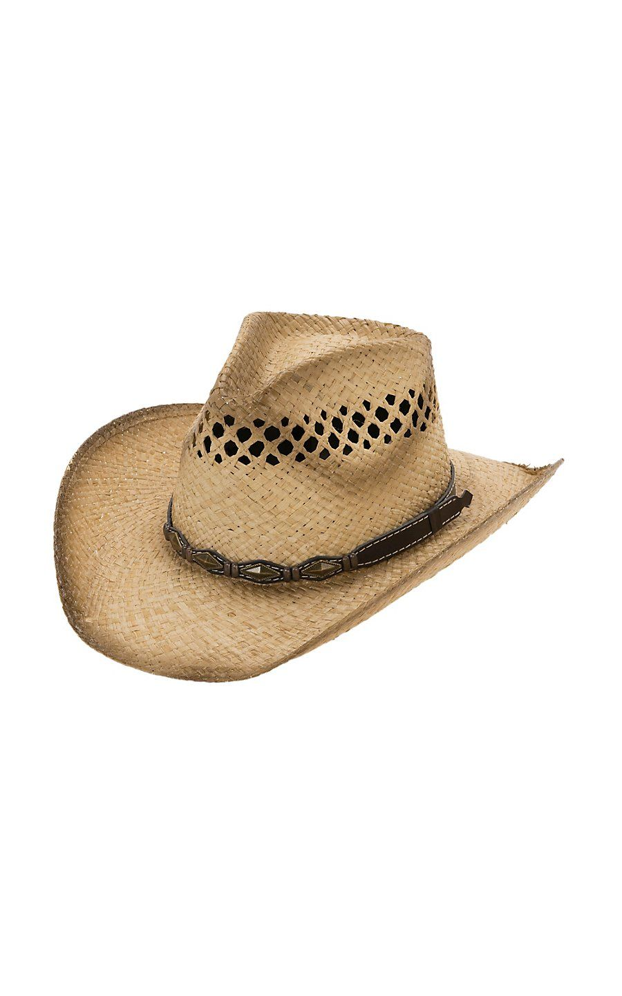 2cdbd191b37 Cavender s Raffia Vent Pinch Front with Brown Band Straw Cowboy Hat ...