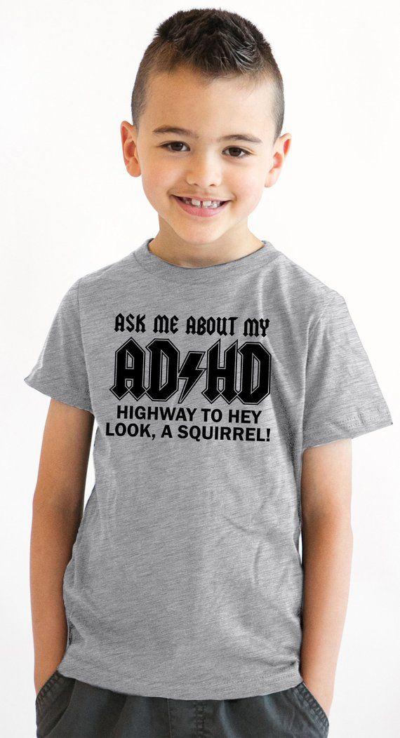 88e7ab60 Boys ADHD Shirt, Kids Add T Shirt, Funny Adhd Tee Shirt, Youth Ask Me About  My ADHD Squirrel Shirt,