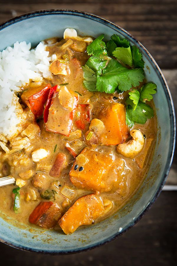 Kürbis-Curry mit Kokosmilch #veganerezeptemittag