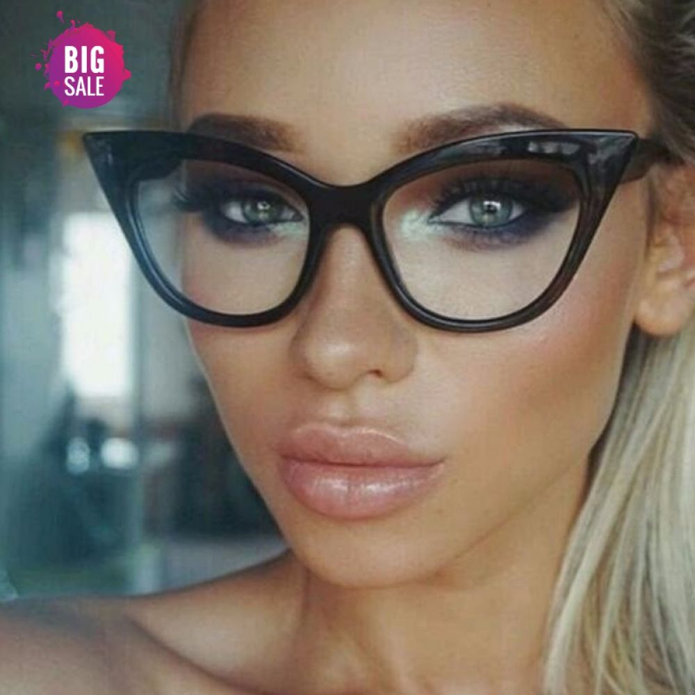 Photo of Neuer Cat Eye Glasrahmen. Designer Optische Brillen / Damenmode Retro Klarglas.