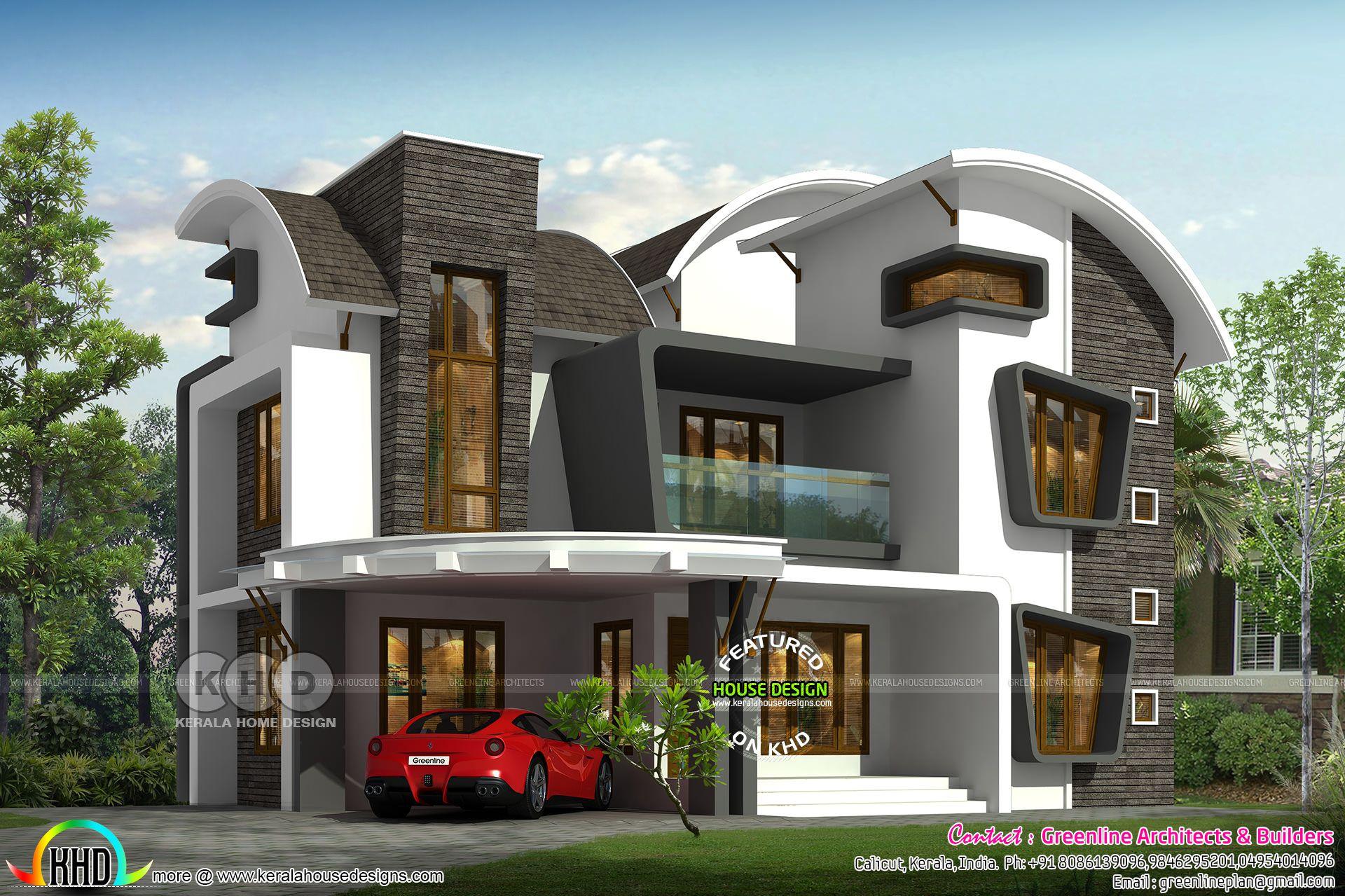 Unique Curvy Roof 4 Bedroom House Rendering Home Building Design Bungalow House Design Kerala House Design