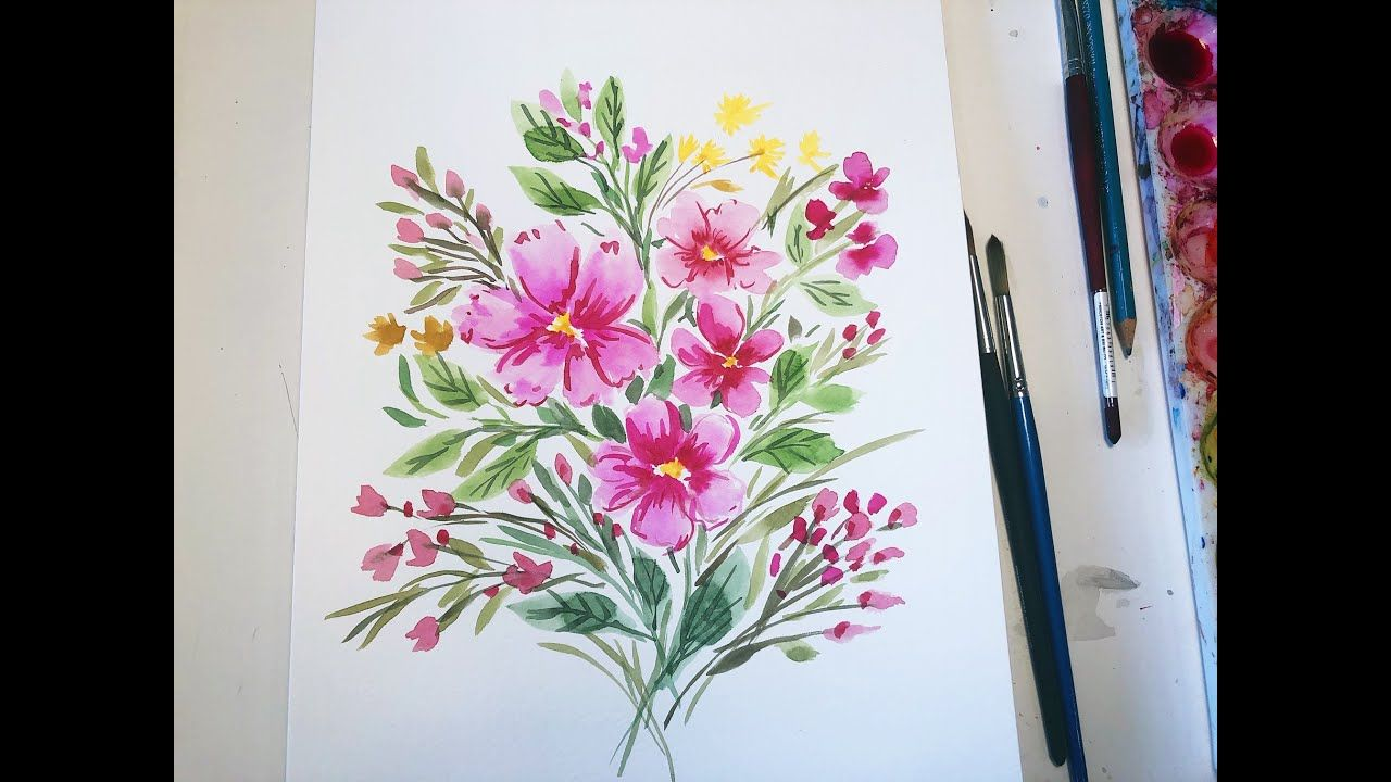 Easy Bright Pink Watercolor Flowers Art Artwork Interiordesign