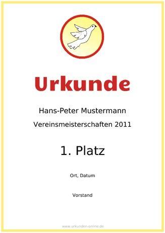 Vorlage Vereinsurkunden - Hier professionelle Urkunden für Vereine ...