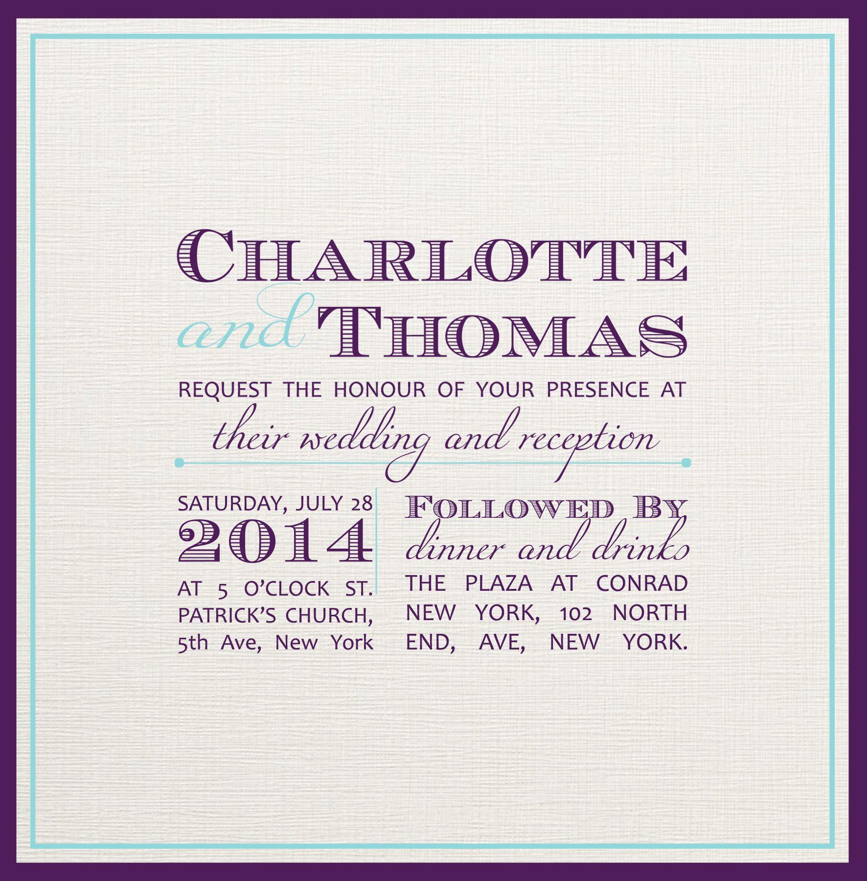 Wedding Invitation. Fonts Used- Candara, Miama & Ecuyer DAX | My ...