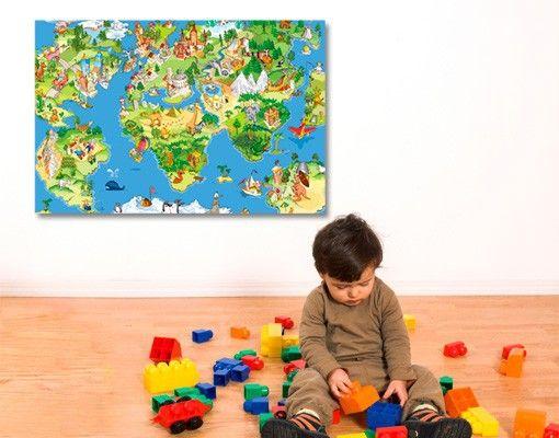 LEINWANDBILD GREAT AND FUNNY #WORLD #MAP #Kinderzimmer #Trends ... | {Trends kinderzimmer 78}