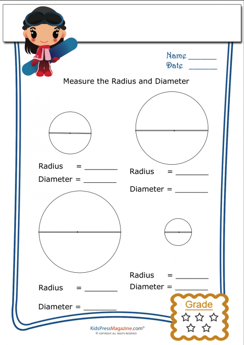 basic geometry worksheet radius and diameter 3 beginner. Black Bedroom Furniture Sets. Home Design Ideas