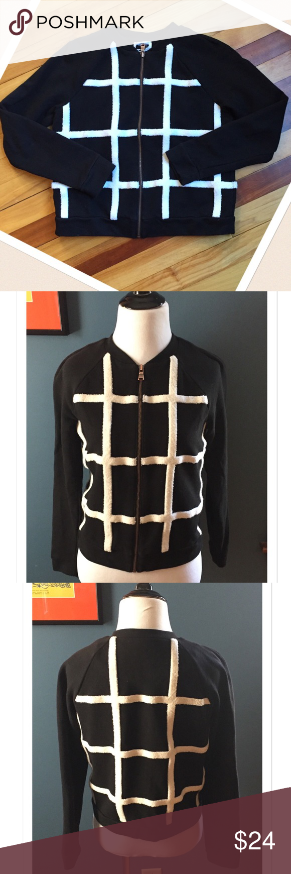 "Black and White Cotton Grid Coat Very cool grid jacket in 100% cotton. Featuring a zipper front, this jacket measures as a size small but tag has been removed. Bust 18"" across; Length 20"". EUC Jackets & Coats"