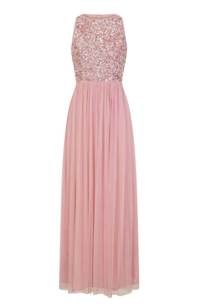 951a6d0a48fb68 LACE   BEADS PICASSO ROSE PINK EMBELLISHED MAXI DRESS