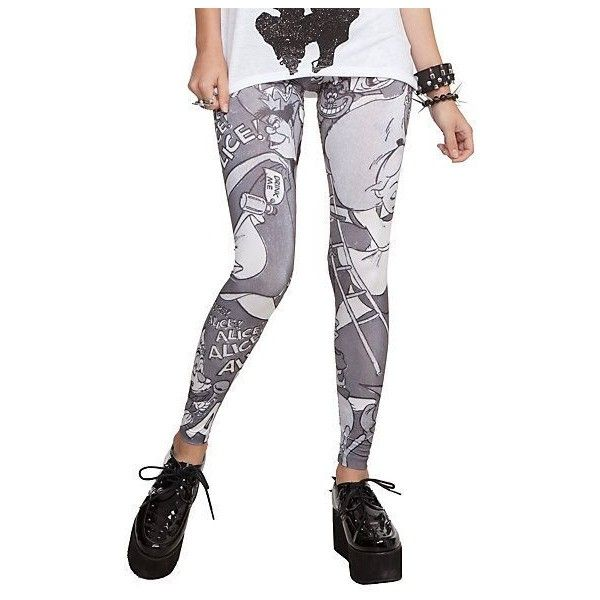Disney Alice In Wonderland Alice And Cheshire Cat Leggings 3XL | Hot... ❤ liked on Polyvore