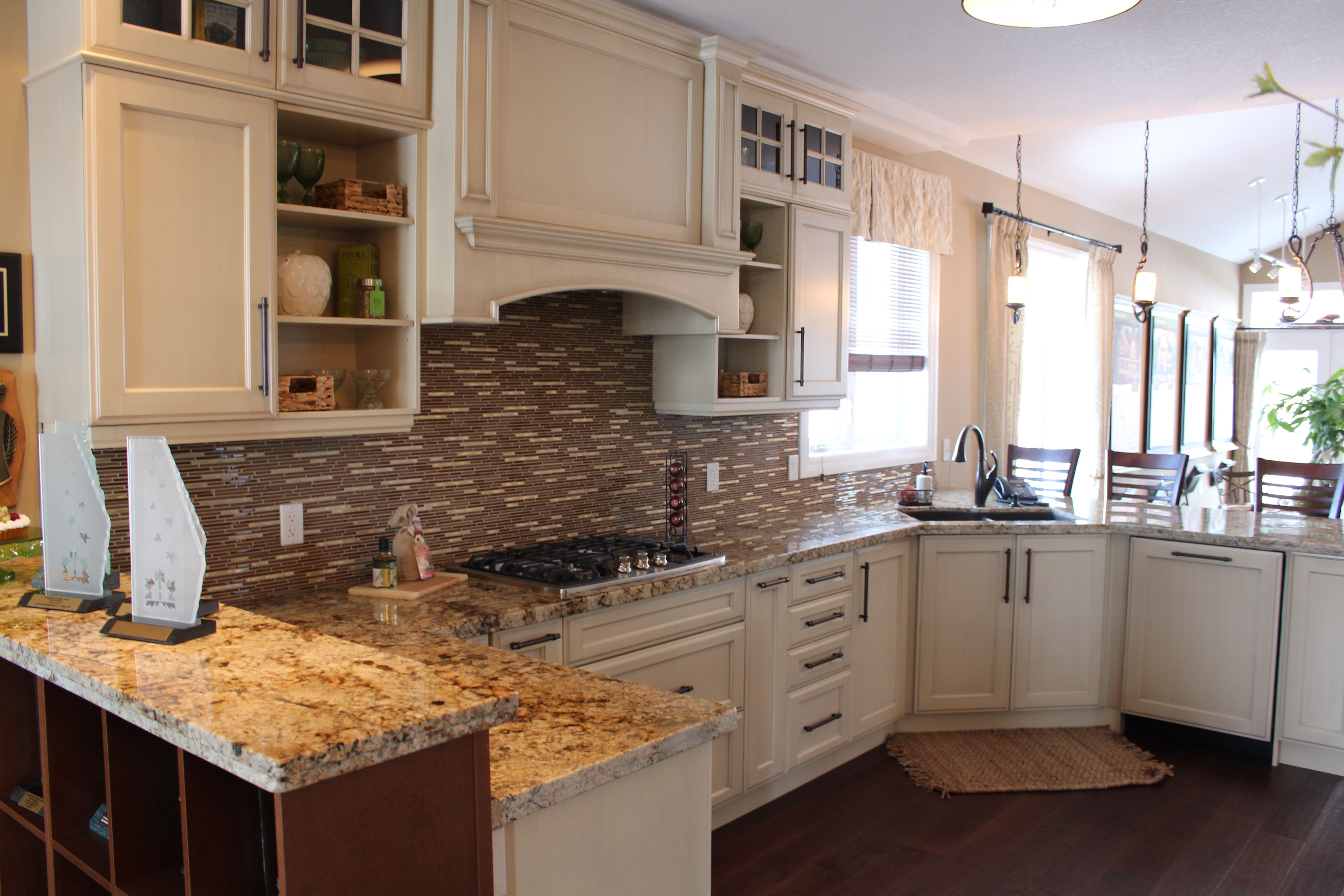 Kitchen Cabinets For 9 Foot Ceilings maple kitchen cabinets, cabinets in parchment with chocolate brush