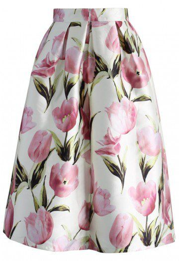 You can never go wrong with tulips! Spread the flower power everywhere you go with this elegant A-line midi skirt.  - Box pleats from waist - Back zip closure - Lined - 100% Polyester - Machine wash gently  Size(cm) Length Waist XS          74      64 S           74      68 M           74      72 L            74      76 XL          74      80 XXL         74      84 XXXL        74      88…