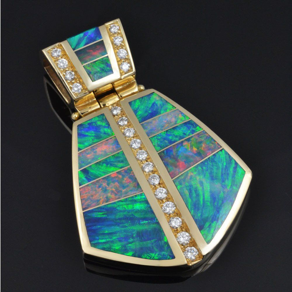 Australian opal pendant featuring top quality opal and diamonds set australian opal pendant featuring top quality opal and diamonds set in 14k yellow gold by the aloadofball Image collections