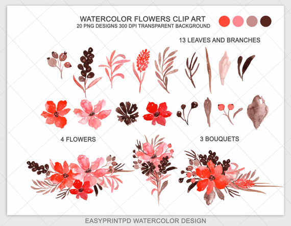 Red Watercolor Flowers Clipart Hand Painted Valentine Clipart