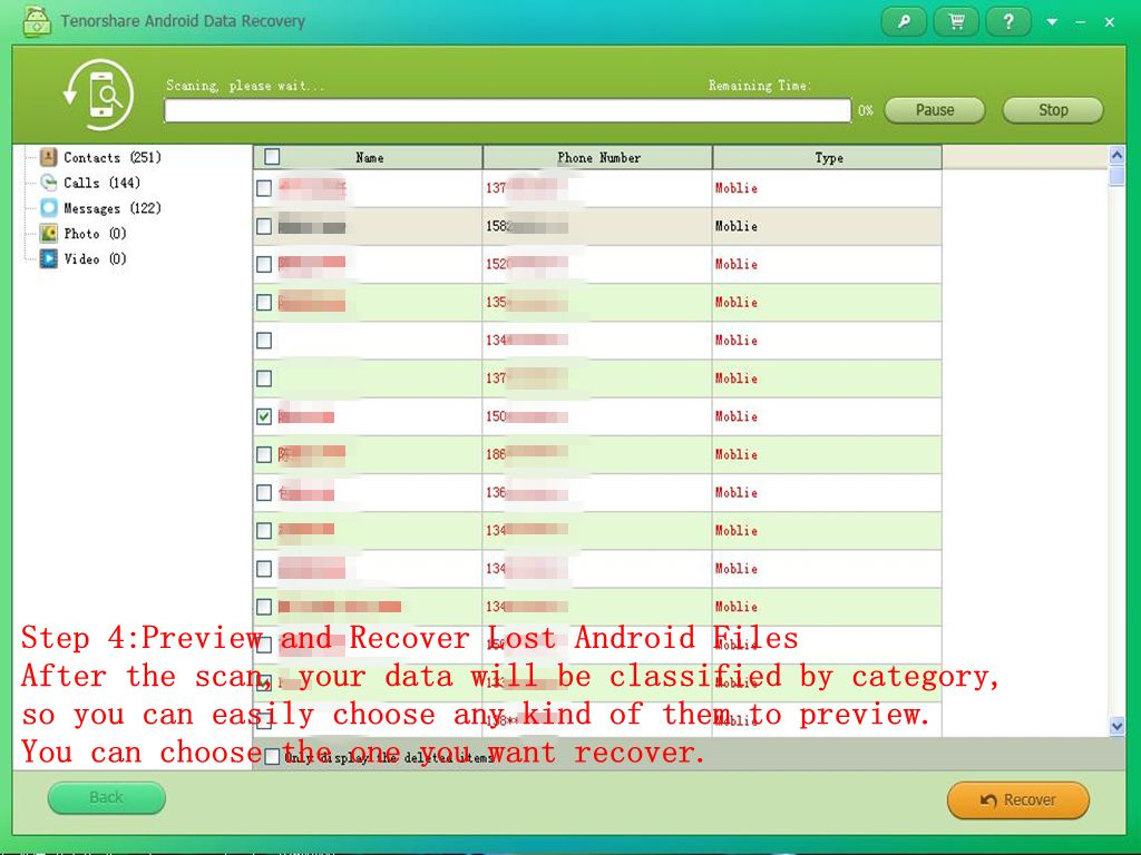 Step 4 Preview And Recover Lost Android Files After The Scan Your