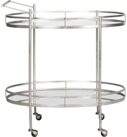 silver serving cart
