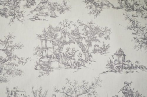 Wild Dove Grey & Vanilla Toile De Jouy 100% Cotton Curtain Upholstery Fabric | eBay