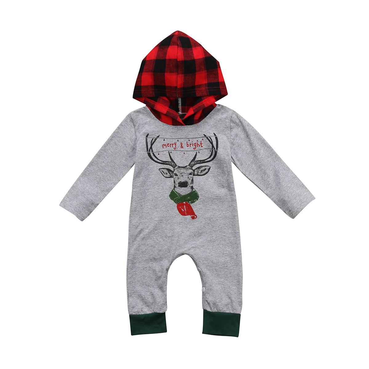 20465dd7e PUDCOCO Baby Xmas Hooded Bodysuit Cotton 0-24M Baby Boys Girls ...