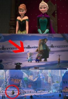 "And these little elephants in Zootopia wearing Elsa and Anna costumes from Frozen! | Disney Just Revealed Some Clever Easter Eggs Hidden In ""Moana,"" ""Zootopia,"" And ""Frozen"""